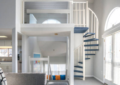 Modern loft and spiral staircase